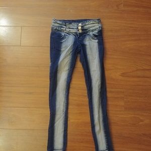 Two-Tone High Waist Skinny Jeans